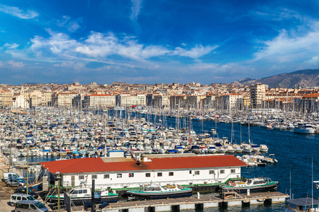 old port: Aerial panoramic view on old port  in Marseille, France Stock Photo
