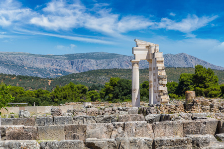 Ruins of ancient temple in Epidavros, Greece in a summer day Stock fotó