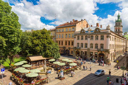 lvov: Market square - historical and tourist centre of Lvov, Ukraine in a summer day