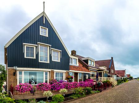 volendam: Traditional houses in Holland town Volendam, Netherlands in a summer day