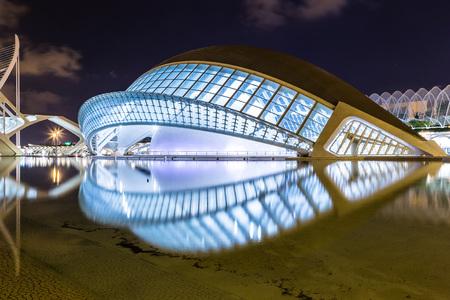 sciences: VALENCIA, SPAIN - JULY 22: City of arts and sciences designed by Santiago Calatrava architect in Valencia on July 22, 2014 in Valencia, Spain Editorial