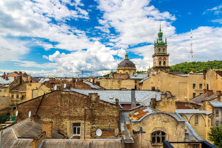 Lviv birds-eye view of from of the city centre in Ukraine