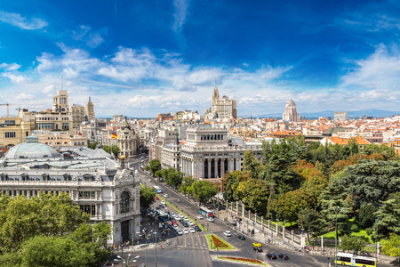 spanish architecture: Aerial view  Plaza de Cibeles in Madrid in a beautiful summer day, Spain