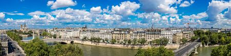 paris france: Aerial panorama of Seine and Notre Dame de Paris in summer day