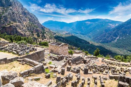 delfi: The Athenian treasury in Delphi, Greece in a summer day