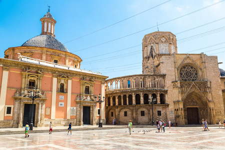 saint mary: Square of Saint Marys in Valencia in a summer day on, Spain Stock Photo