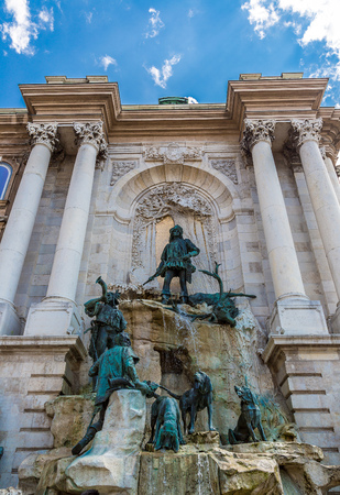 artful: The artful spring Matthiasbrunn en at the castle of Budapest in Hungary in a summer day
