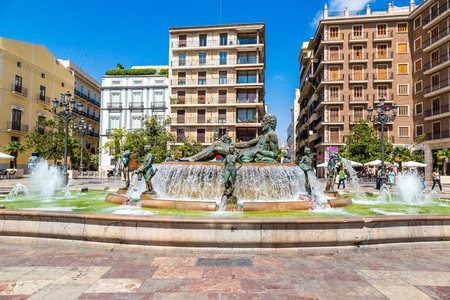 saint: Square of Saint Marys and fountain Rio Turia  in Valencia in a summer day, Spain