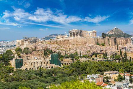 Akropolis in einem schönen Sommertag in Athen, Griechenland