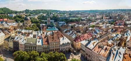 Lviv panoramic birds-eye view of from of the city centre in Ukraine in a summer day