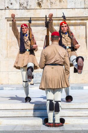ATHENS, GREECE - JULY 19: Ceremonial changing guards in Athens, Greece in a summer day on July 19, 2015