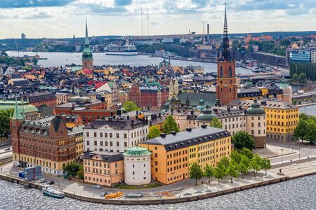 stan: Scenic summer aerial panorama of the Old Town (Gamla Stan) in Stockholm, Sweden in a summer day Stock Photo