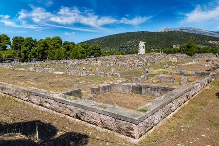 peloponnes: Ruins of ancient temple in Epidavros, Greece in a summer day Stock Photo