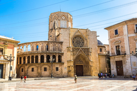 saint: Square of Saint Marys in Valencia in a summer day on, Spain Editorial