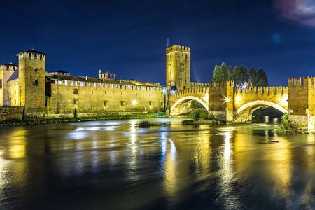 heritage protection: Castle Vecchio at summer night  in Verona, Italy Editorial