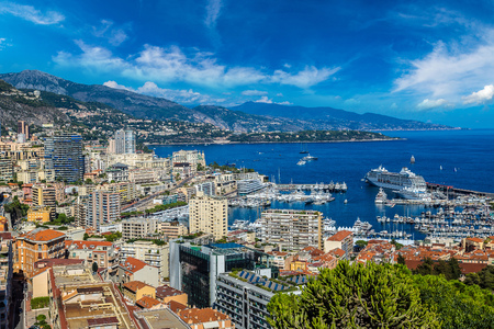 carlo: Panoramic view of Monte Carlo in a summer day, Monaco