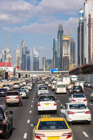 city traffic: Traffic jam at Sheikh Zayed Road in Dubai in a summer day