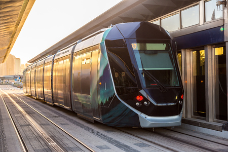 rta: New modern tram in Dubai, United Arab Emirates Stock Photo