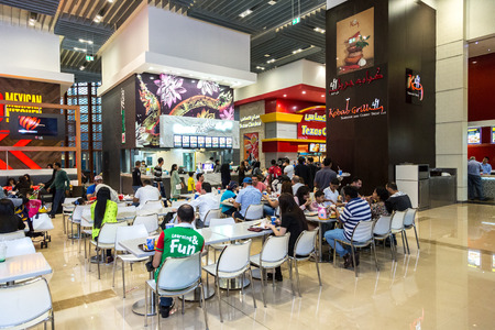 food court: DUBAI, UAE - DECEMBER 5: Food court in Dubai Mall, UAE. December 5, 2015 in Dubai, United Arab Emirates Editorial