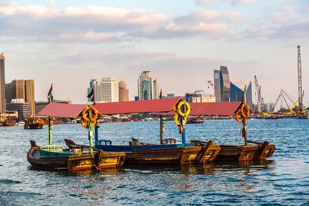 bur dubai: Old traditional boats on the bay Creek in Dubai, UAE Stock Photo