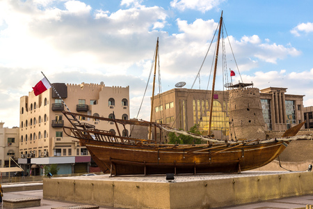 Old traditional arabic dhow boat in Dubai Museum, UAE