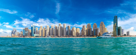 Panorama of Dubai Marina in a summer day, UAE Stock Photo