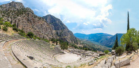 delphi: Ancient theater in Delphi, Greece in a summer day Stock Photo