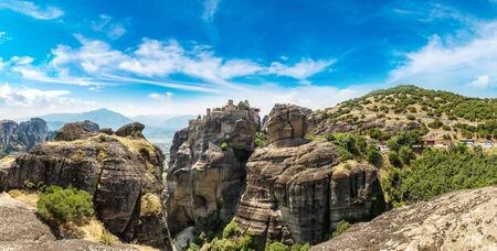 kalambaka: Monasteries on the top of rock in a summer day  in Meteora, Greece