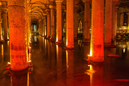 cistern: ISTANBUL, TURKEY - MAY 14, 2015 : The Basilica Cistern is the largest ancient cisterns.