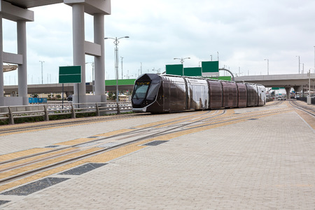 rta: New modern tram in Dubai, UAE. December 5, 2015 in Dubai, United Arab Emirates Editorial
