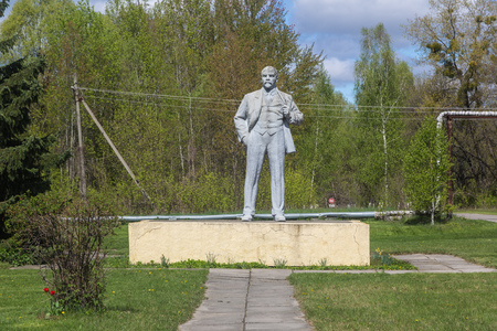 chernobyl: Monument of Lenin in Chernobyl city, Ukraine in a summer day