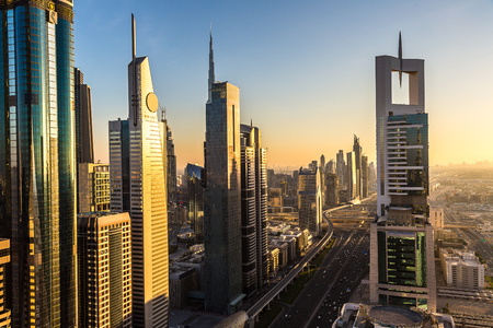 day light: Aerial view of downtown Dubai in a summer day, United Arab Emirates
