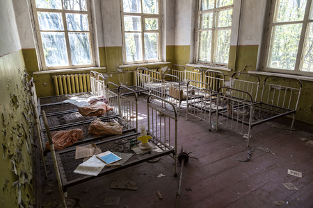 chernobyl: Abandoned kindergarten in Chernobyl, Ukraine in a summer day Stock Photo