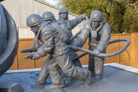 nuclear power station: Monument to dead firefighters in the Chernobyl nuclear power station, Ukraine Stock Photo