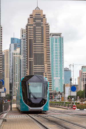 rta: New modern tram in Dubai, UAE. December 5, 2015 in Dubai, United Arab Emirates Stock Photo