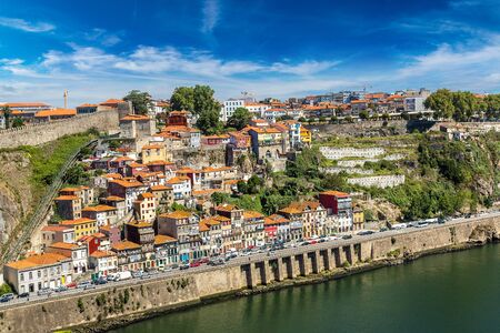 old ship: Aerial view of Porto in Portugal in a beautiful summer day