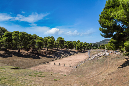 peloponnes: Ruins of olympic stadium in Epidavros, Greece in a summer day Stock Photo