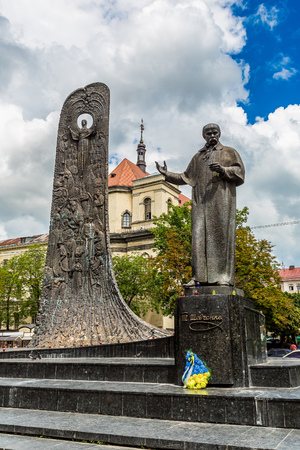 national poet: Taras Shevchenko Monument in Lviv, Ukraine in a summer day