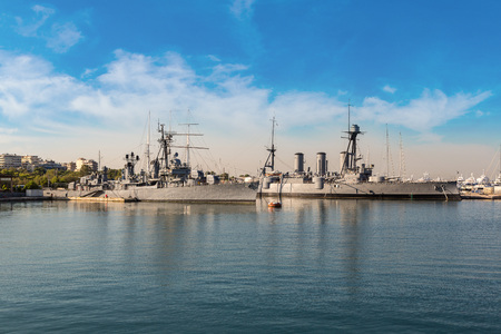 Warship in a summer day in a port Piraeus in Athens, Greece Stock Photo