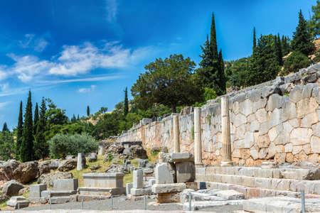 delphi: Ancient ruins in Delphi, Greece in a summer day