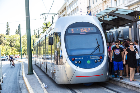 electric tram: ATHENS, GREECE - JULY 19: Modern electric tram in Athens, Greece in a summer day on July 19, 2015 Editorial