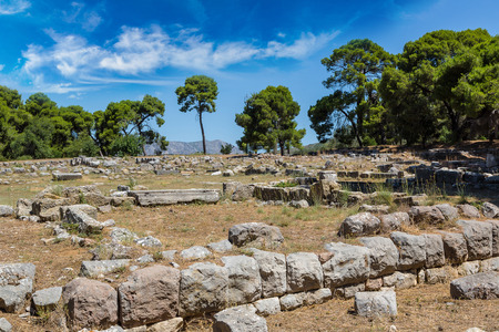 and arcadia: Ruins of ancient temple in Epidavros, Greece in a summer day Stock Photo