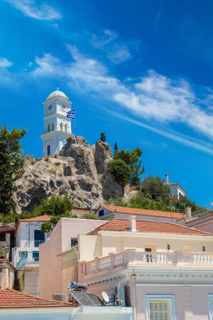 poros: Bell-tower on Poros island in a summer day in Greece