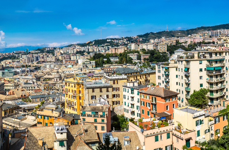 Panoramic view port of Genoa in a summer day, Italy Stock Photo - 81108258