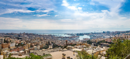 genoa: Panoramic view port of Genoa in a summer day, Italy