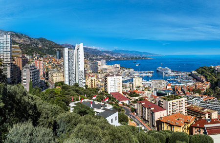 Panoramic view of princes palace in Monte Carlo in a summer day, Monaco Stock Photo
