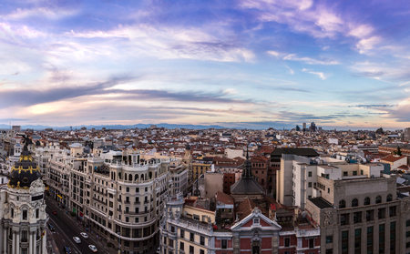 Panoramical aerial view of Madrid in a beautiful summer night, Spain Stock Photo