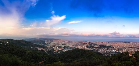 sagrada: Panoramic view of Barcelona from Park Guell in a summer evening in Spain