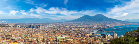 Napoli (Naples) and mount Vesuvius in the background at sunset in a summer day, Italy, Campania Reklamní fotografie