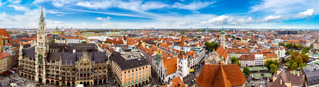 Aerial view on Marienplatz town hall in Munich, Germany Banco de Imagens